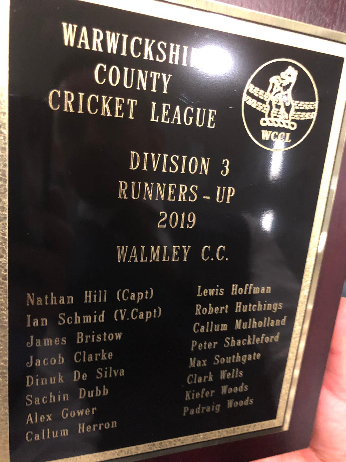 Warwickshire Cricket League Division 3 Second Team Runners Up