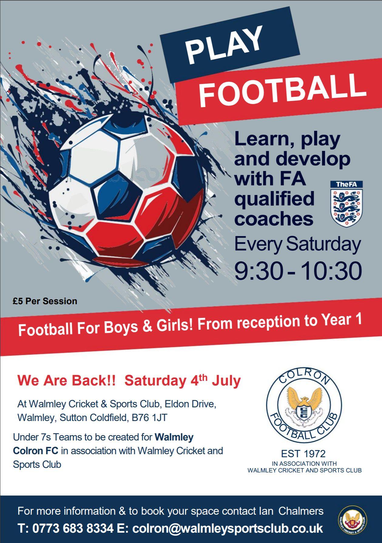 Football School Restarting in July!